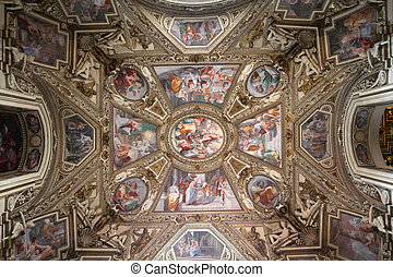 Interior view of Basilica of Virgin Mary in Trastevere, Rome