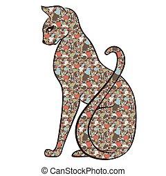 trastorno, gato, mosaico