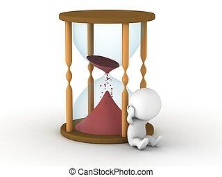 trastorno, reloj de arena, vacío, 3d, casi