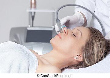 tratamento, saúde, fim, beleza, pele, clínica, rosto mulher