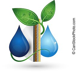 tratamiento, agua, bio