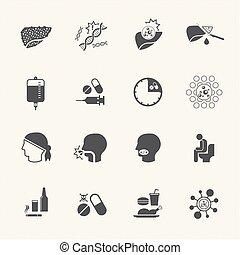 tratamiento, causa, hígado, cáncer, iconos