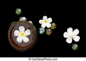 tratamiento del balneario, con, flor blanca, conjunto
