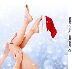 tratamiento, piernas, navidad, belleza