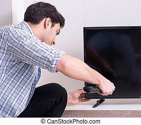 tratar, hombre, roto, televisión, aprieto