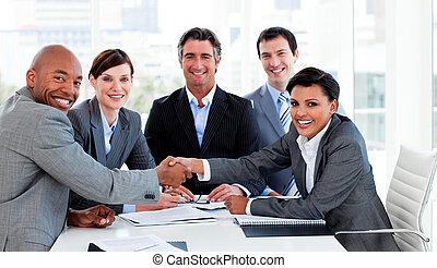 trato, cierre, diverso, empresa / negocio, grupo
