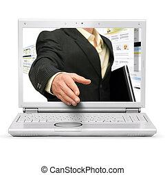 trato de la corporación mercantil, en línea