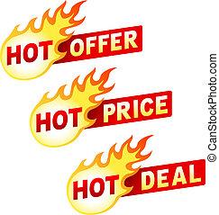 trato, pegatina, oferta, caliente, llama, precio, insignias