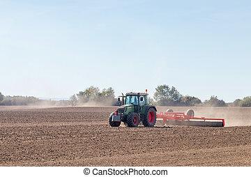 trator, agricultura, preparar, campo