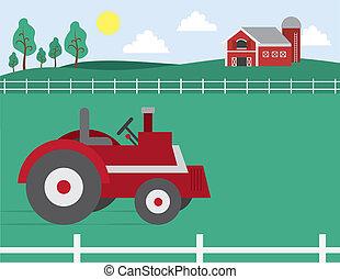trator, celeiro, fazenda