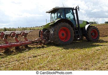 trator, closeup, arado, sulco, campo agricultura