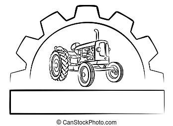 trator, engrenagem, logotipo, wheel.
