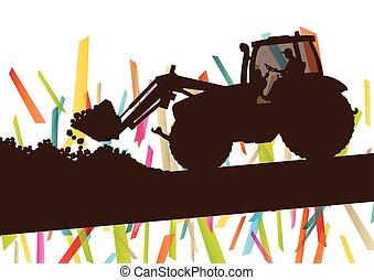 trator, fazenda, abstratos, ilustração, vetorial, maquinaria, fundo, agricultura, agricultura, paisagem