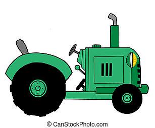 trator, fazenda, verde