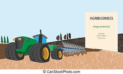 trator, ilustração, agrícola, plow., agribusiness, technology., associado, companhias