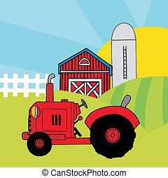 trator, vermelho, fazenda, pasto