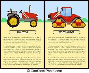 trator, vetorial, agricultura, máquinas, ilustração
