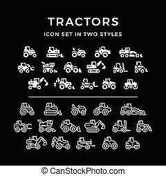 tratores, jogo, ícones