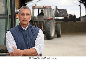 tratores, seu, trabalhando, agricultores
