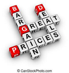 tratos, precios, grande, ganga