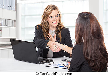 trattativa, donna d'affari, secondo, lungo, mano, tremante
