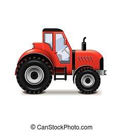 trattore, isolato, bianco, vettore