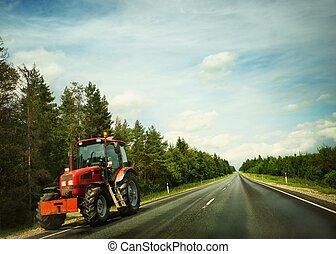 trattore, su, uno, strada