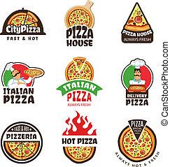 trattoria, coloré, ingrédients, étiquettes, déjeuner, vecteur, pizza, cuisinier, pizzeria, italien, logo., ou, insignes, restaurant