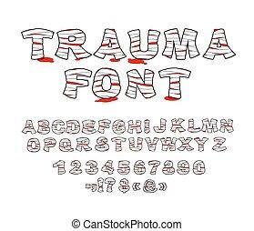 Trauma font. Crippled letters wrapped medical bandages....