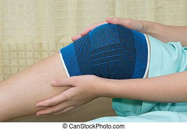trauma, i, knæ, ind, afstivning, during, rehabilitering,...