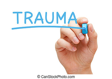trauma, marcador, manuscrito, azul