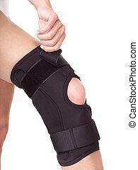 Trauma of knee in brace.