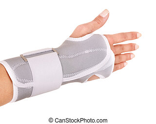 Trauma of wrist in brace.