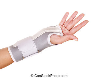 Trauma of wrist in brace. Isolated.