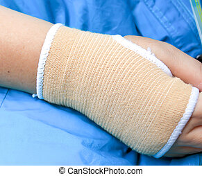 Trauma of wrist with brace