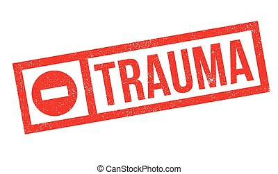 Trauma rubber stamp. Grunge design with dust scratches....