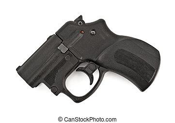 Traumatic gun - Black traumatic gun isolated on white...