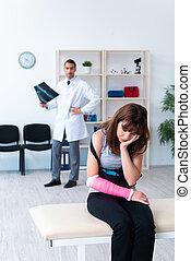 traumatologist, ανδρικός γυναίκα , επίσκεψη , ανώριμος ...