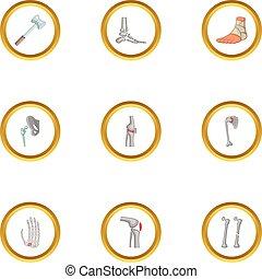 Traumatology and orthopedic icons set, cartoon style