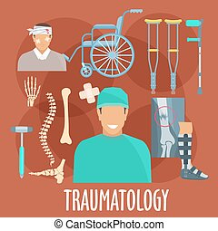 Traumatology symbol with surgeon and medical tools -...