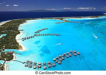 traumhaft, polynesien, einige, ansicht, franzoesisch, lagune, above., bora, overwater, bungalows, colors.