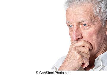 traurige , älterer mann, in, ungezwungene kleidung,...