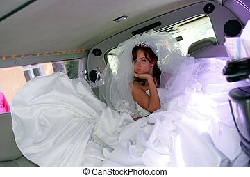 traurige , braut, in, limo