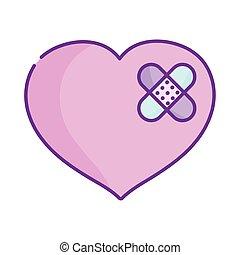 traurige , tag, zuerst, herz, verbände, hilfe, liebe, glücklich, valentines, reizend