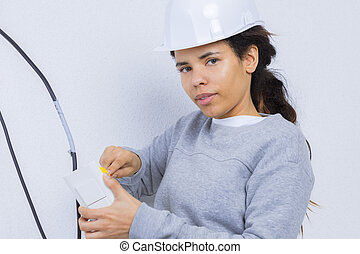 travail, électricien, femmes