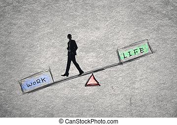 travail, équilibre, sur, concept, vie