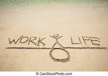 travail, équilibre, vie, concept, sable