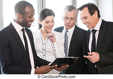 travail équipe, conversation