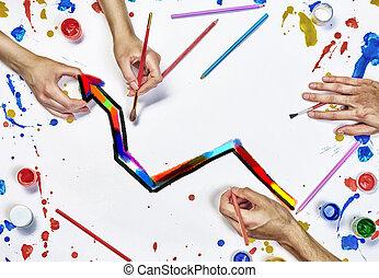 travail équipe, créatif