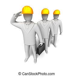 travail, équipe travail, prêt, homme, 3d